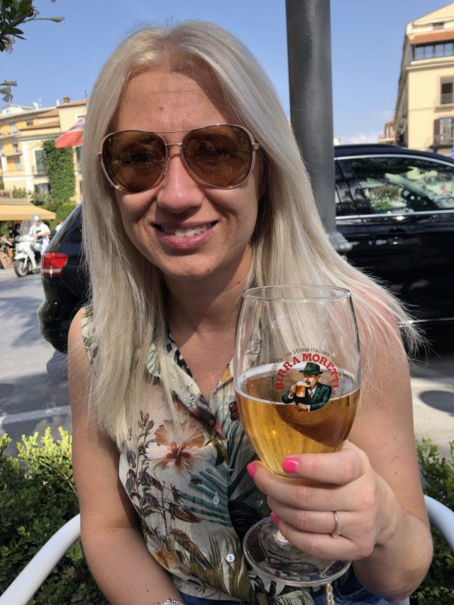 Vicky Enjoying A Cold Beer, Sorrento
