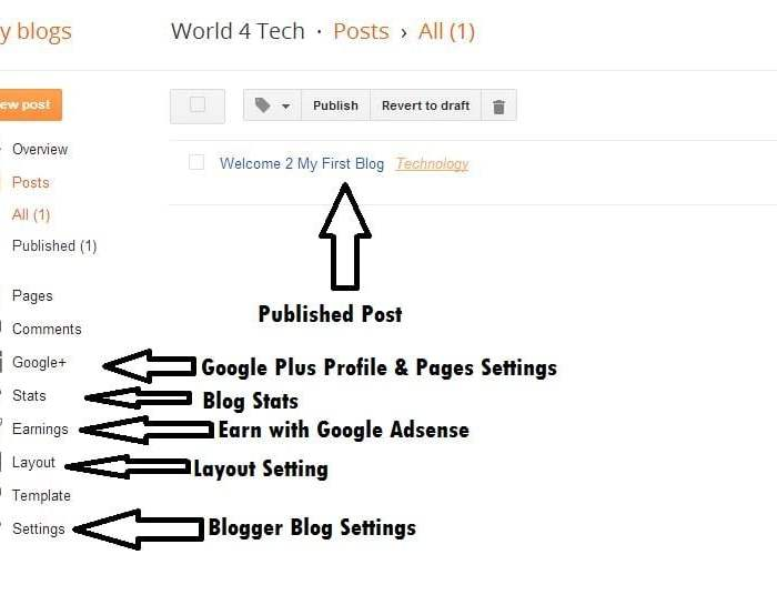 Blogger Setting Page