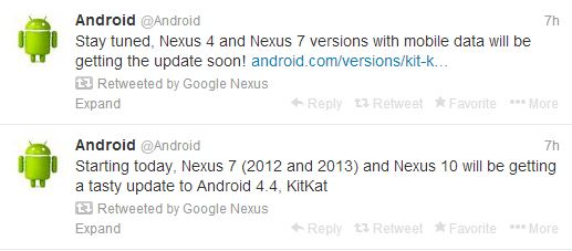 Android updates to Nexus on Official Android Twitter Account
