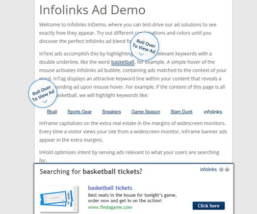 Monetize Blog Building Brand Authority Infolinks Ad Demo