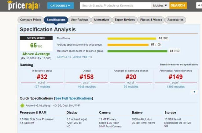 Specifications score and Value