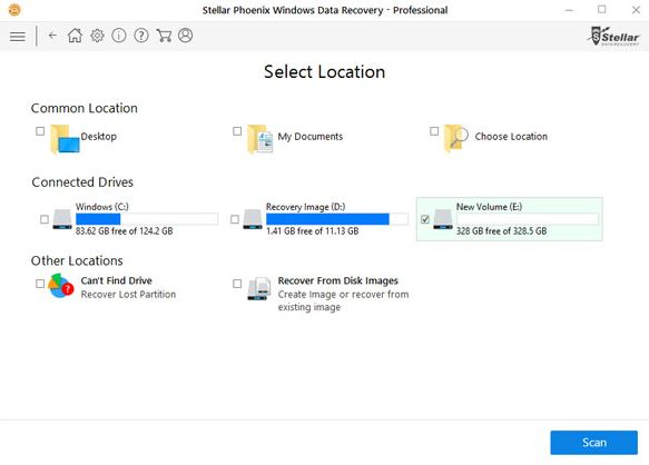 Select the Location for searching Data