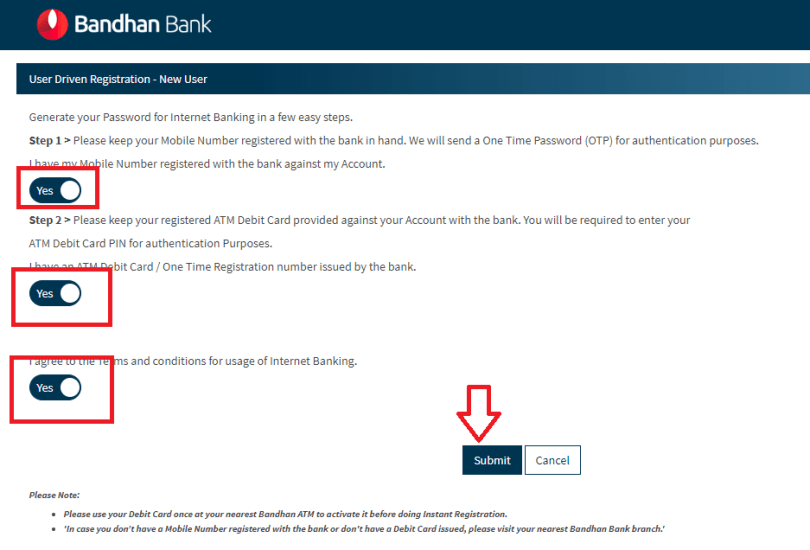Bandhan Bank Net Banking Register