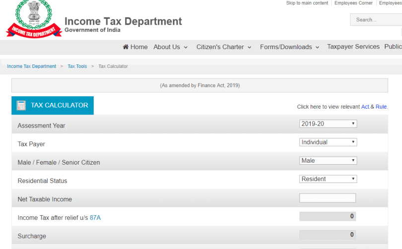Tax Calculator - Income Tax Department