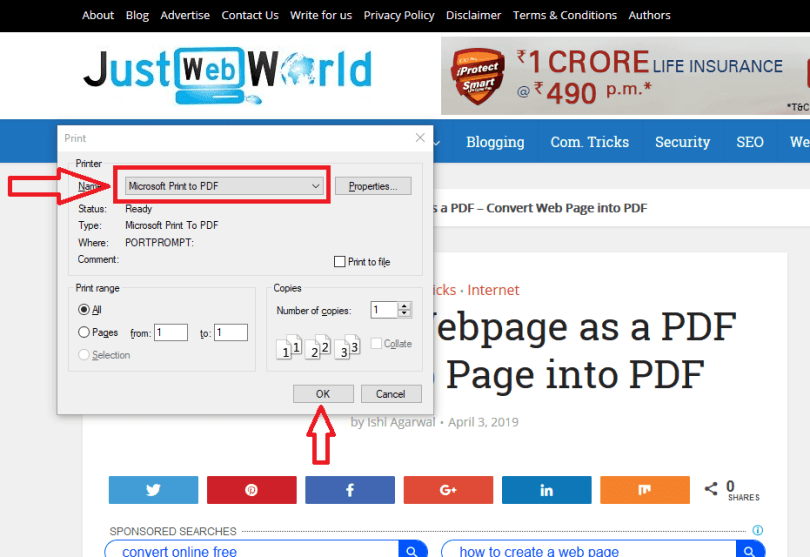 How to save a webpage as a pdf firefox