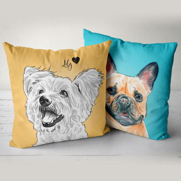 personalized portrait pet pillow with illustration for your lovely pet premium product