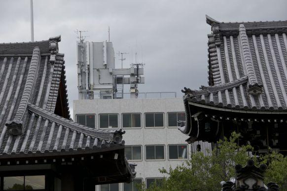 De tempels staan nu eenmaal in een grote stad.