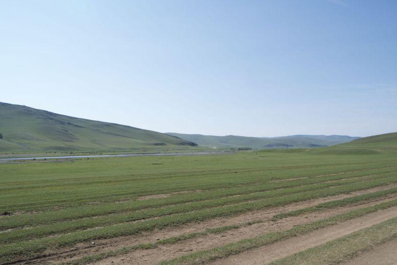 Een typische meerbaansweg in Mongolië.