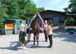 Gruppe beim Pferdegestütztem Coaching in Freiburg