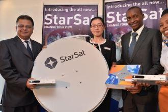 Startimes Media Kenya Limited VP Mark Lisboa StarSat DTH Director Tracy Lixue and PR Manager Alex Mwaura during the Direct To Home (DTH) Digital TV StarSat Satellite Service Launch