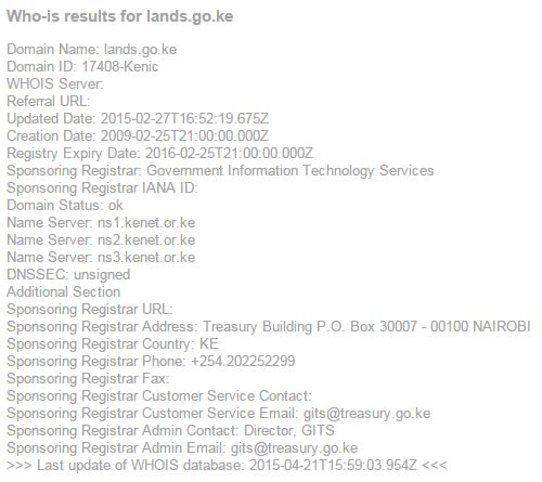 DNS Lookup for Lands And Housing Ministry Website lands.go.ke JUUCHINI