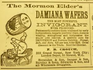 CrouchFB MormonEldersDamianaWafers advert w cherub TheChemistAndDruggist 1889Nov16 quackdoctor