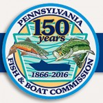 The Pennsylvania Fish and Boat Commission's special logo to mark its 150th anniversary.