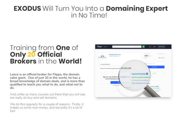 Exodus Domainer Training WSO by Trevor C