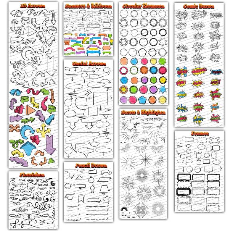 Whiteboard Power Kit Features - Arrows, Banners, Ribbons, Elements, Bursts, Frames