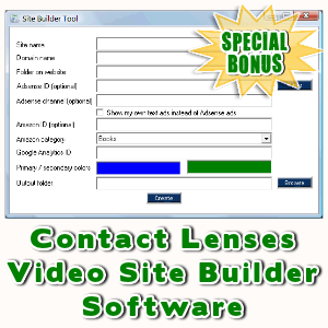 Special Bonuses - April 2016 - Contact Lenses Video Site Builder Software