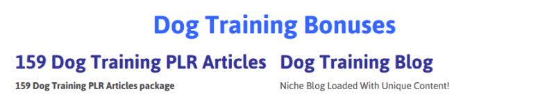 Dog Training Niche Package Bonuses