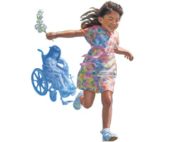 A crippled girl who is able to run again