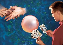 1. A zodiac chart; 2. Palm reading; 3. A crystal ball; 4. A man reading tarot cards