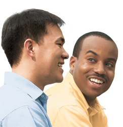 Two friends from differing ethnic backgrounds