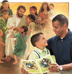 1. Jesus talking to children; 2. A father talking to his son