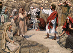 Jesus resurrecting Lazarus