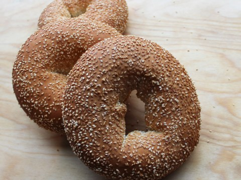 three sesame bagels