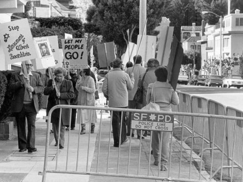 Bay Area Council for Soviet Jews' daily vigil in front of the Soviet Consulate, Nov. 24, 1986 (Photo/Tom Wachs)