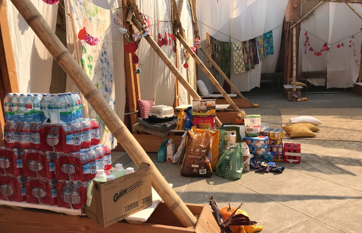 Fire relief donations in the East Bay JCC sukkah (Photo/Courtesy East Bay JCC)