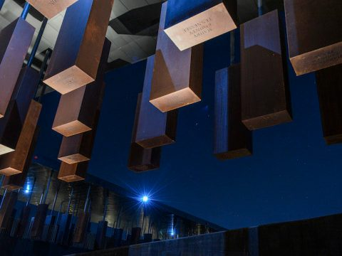 The names of lynching victims are inscribed on weathered steel columns that hang from the ceiling at The National Memorial for Peace and Justice in Montgomery, Alabama. (Photo/JTA-Ricky Carioti-The Washington Post-Getty Images)