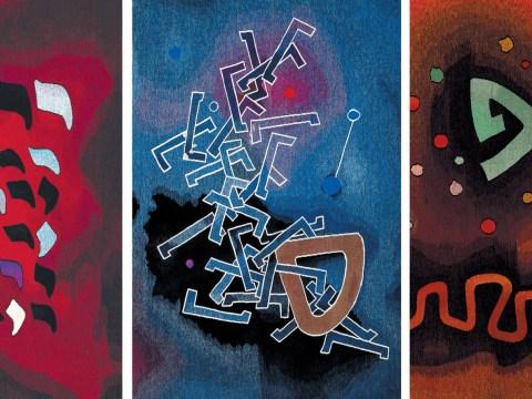 three pieces of vibrant artwork by Mordecai Aron
