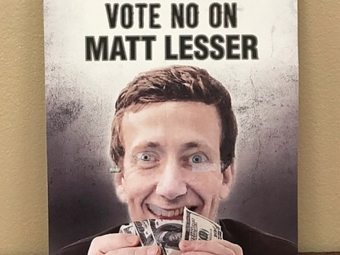 "ad reads: ""Vote No on Matt Lesser"""