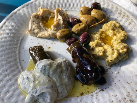 The appetizer mezze plate has hummus, baba ghanoush, olives and dolmas with yogurt and pomegranate sauces.(Photo/Alix Wall)