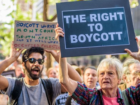 People protesting anti-BDS laws in New York, June 9, 2016 (Photo/JTA-Erik McGregor-Pacific Press-LightRocket via Getty Images)