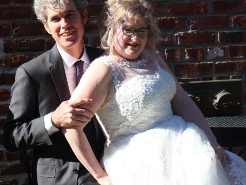 Matthew Schaefer and Karen Solomon on their wedding day
