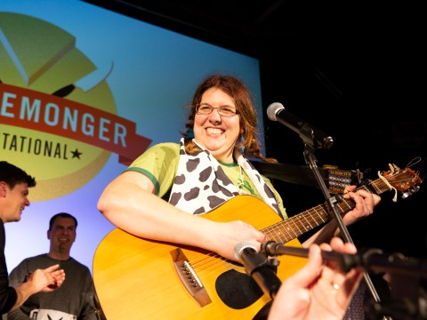 Jill Zenoff singing a cheese parody she wrote, set to an Indigo Girls song. (Photo/Ellen Mary Cronin)