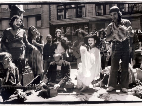 Allen Ginsberg (seated, center) in San Francisco with members of the Julian Theater, 1971 (Photo/Harold Adler)