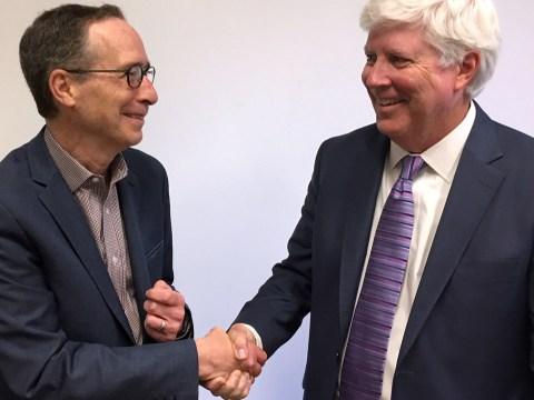 Reutlinger Community CEO Jay Zimmer (left) and Eskaton president Todd Burch (Photo/Dan Pine)