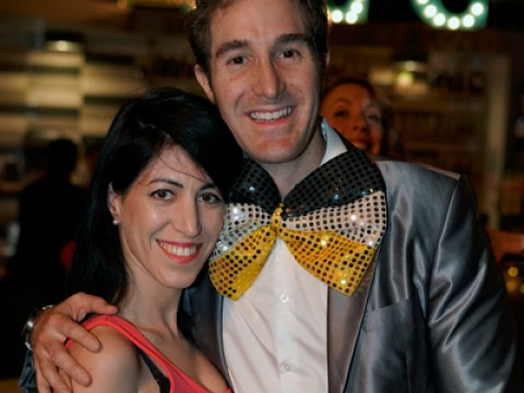 Jewbilee founder Jeremy Doochin with girlfriend Annie Fizitzky at a recent bar mitzvah–themed party (Photo/Brian Matthew Lee)