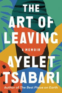 "colorful abstract shapes with the title of the ""art of leaving"" in bold white letters"