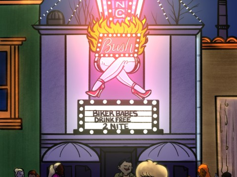 "cartoonish illustration of the exterior of a strip club called ""The Burning Bush"""