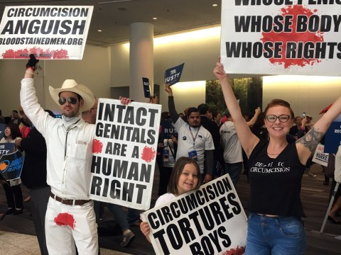"Of course, the anti-circumcision ""intactivists"" were there (Photo/Dan Pine)"