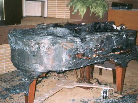 Congregation B'nai Israel piano destroyed in June 1999 firebombing (Photo/Courtesy Congregation B'nai Israel)