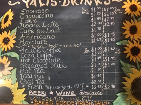 Yali's menu in the cafe's early years