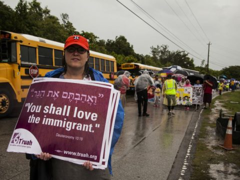 Rabbi Salem Pearce at an interfaith vigil outside the Homestead Detention Center in South Florida, where more than 2,000 child migrants are being held, June 16, 2019 (Photo/JTA-Maria Alejandra Cardona for T'ruah)