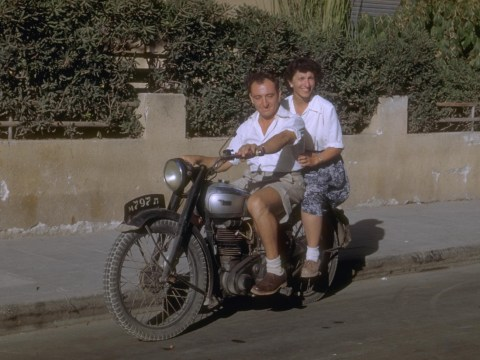 Cars were a luxury that few could afford in in 1950s Israel. Motorcycles were an option for young couples like this one.