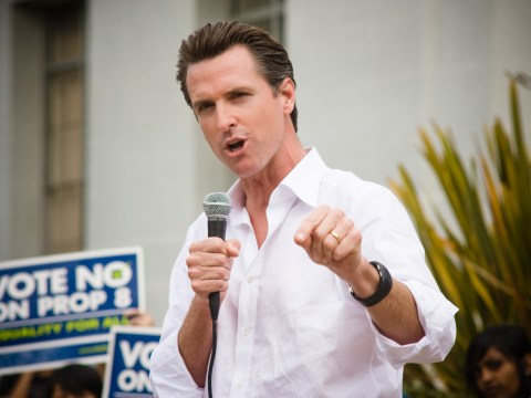 Then-Mayor Gavin Newsom speaks out against Proposition 8 at UC Berkeley in 2008. (Photo/Wikimedia Commons)