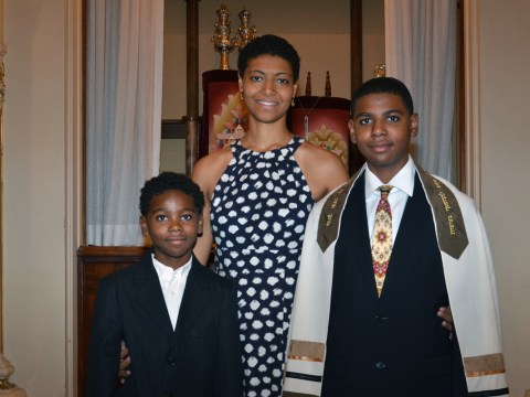 Jewish Youth for Community Action board member Jennifer Esteen with sons Jalen (left) and Barry (right) at Barry's bar mitzvah (Photo/Courtesy Jennifer Esteen)
