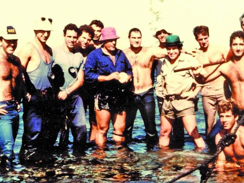 Nir Merry (on right holding hammer) with his Israeli Navy commando unit (Photo/Courtesy Nir Merry)