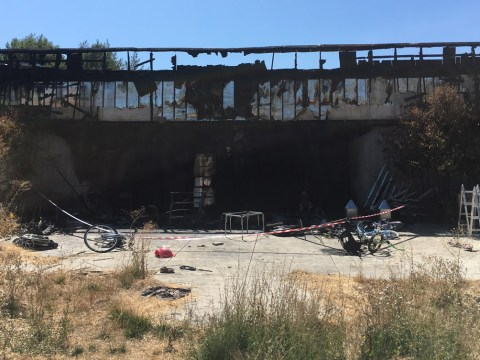 The burnt exterior of Chabad of the Tri Valley in Pleasanton (Photo/Gabe Stutman)